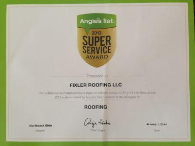 Angie's List Roofing Certificate